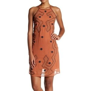 NWT Endless Rose Embroidered Beaded Halter Dress S